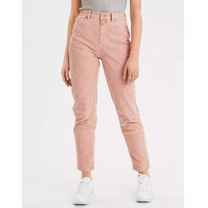 American Eagle Pink Corduroy Mom Jeans